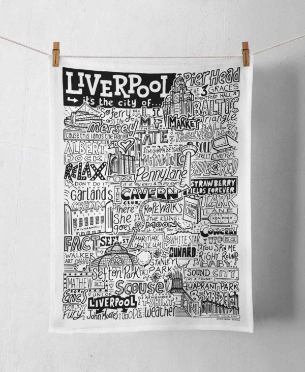 Liverpool Tea Towel featuring ur hand-drawn Liverpool illustration
