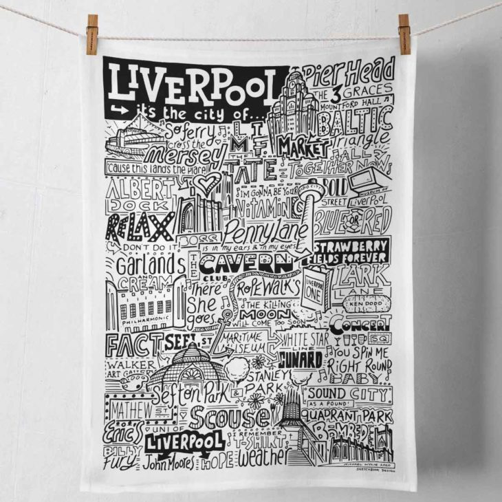 Liverpool Tea Towel featuring ur hand-drawn Liverpool illustration