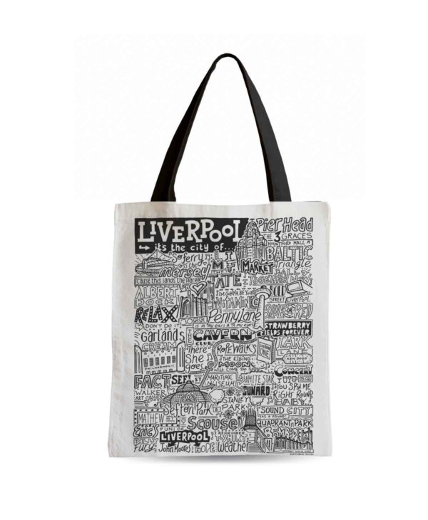 Liverpool Tote Bag from Sketchbook Design featuring our hand-drawn Liverpool illustration