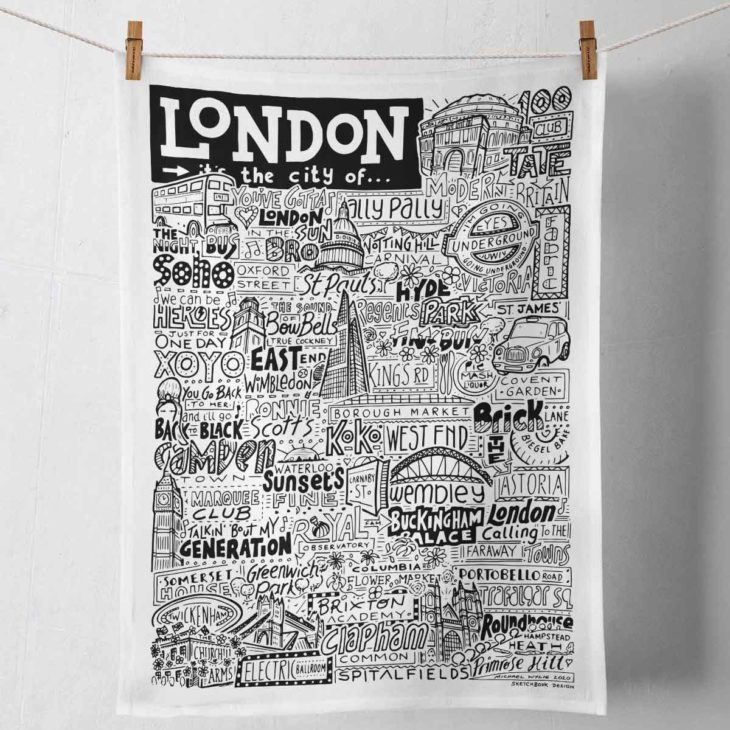 London Tea Towel featuring ur hand-drawn London illustration