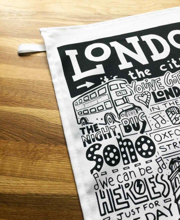 London Tea Towel featuring ur hand-drawn London illustration