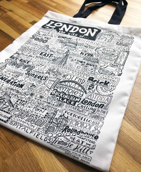 London Tote Bag from Sketchbook Design featuring our hand-drawn London illustration