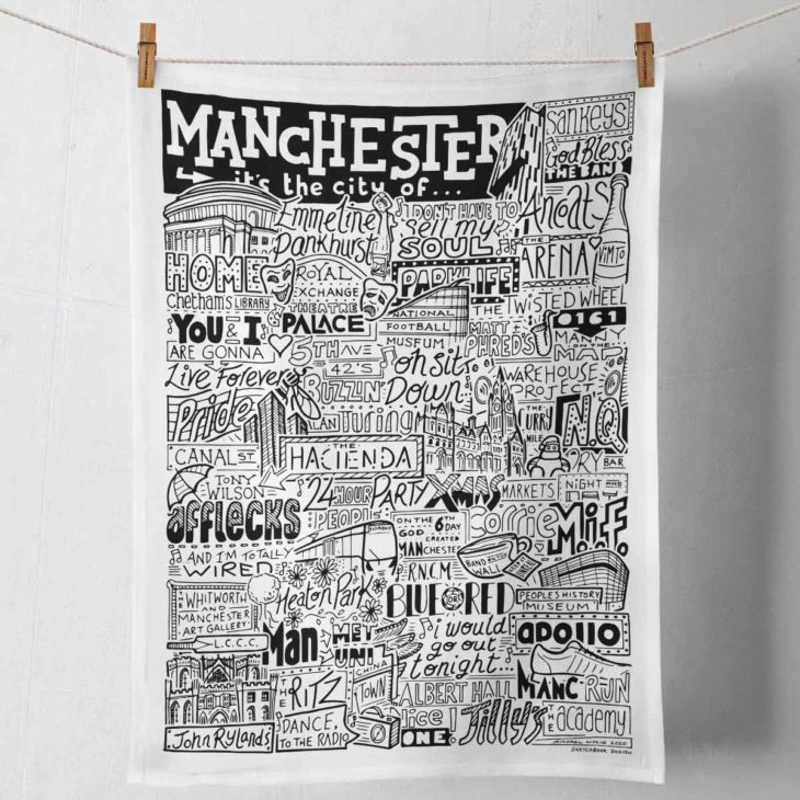 Manchester Tea Towel featuring ur hand-drawn Manchester illustration