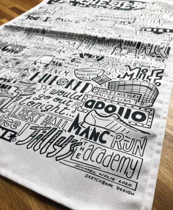 Manchester Tea Towel featuring ur hand-drawn Manchester illustration