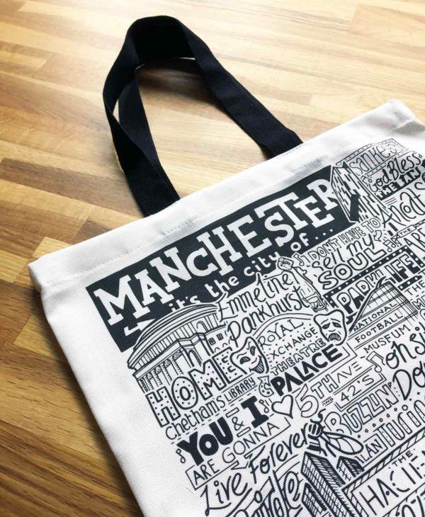 Manchester Tote Bag from Sketchbook Design featuring our hand-drawn Manchester illustration