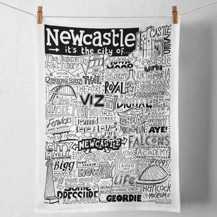 Newcastle Tea Towel featuring ur hand-drawn Newcastle illustration