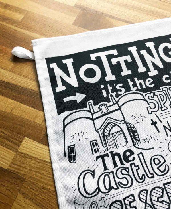 Nottingham Tea Towel featuring ur hand-drawn Nottingham illustration