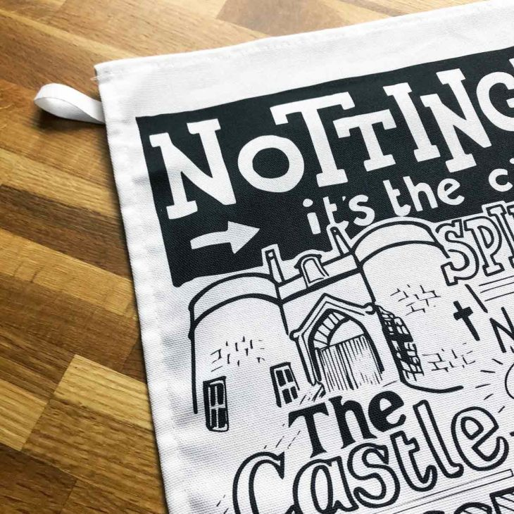 Nottingham Tea Towel featuring ur hand-drawn Nottingham illustration