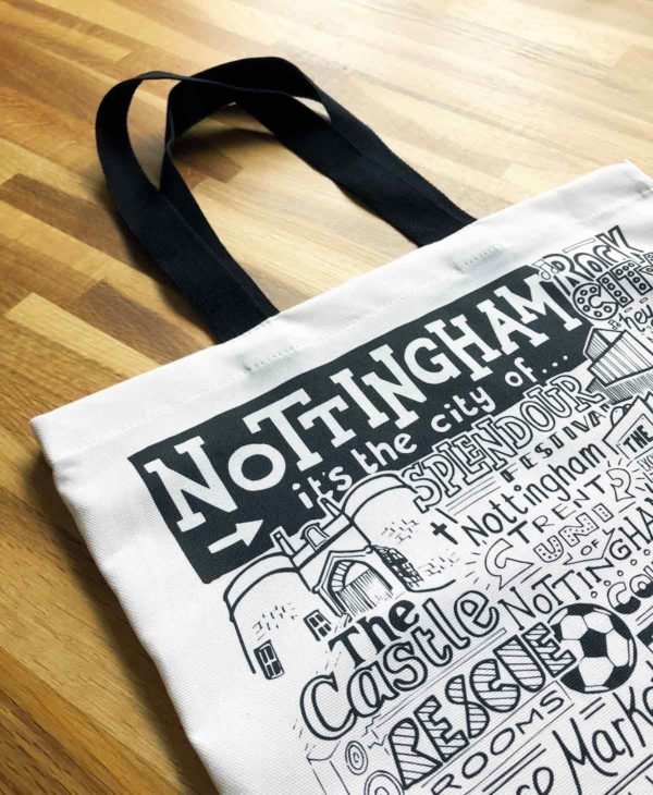 Nottingham Tote Bag from Sketchbook Design featuring our hand-drawn Nottingham illustration
