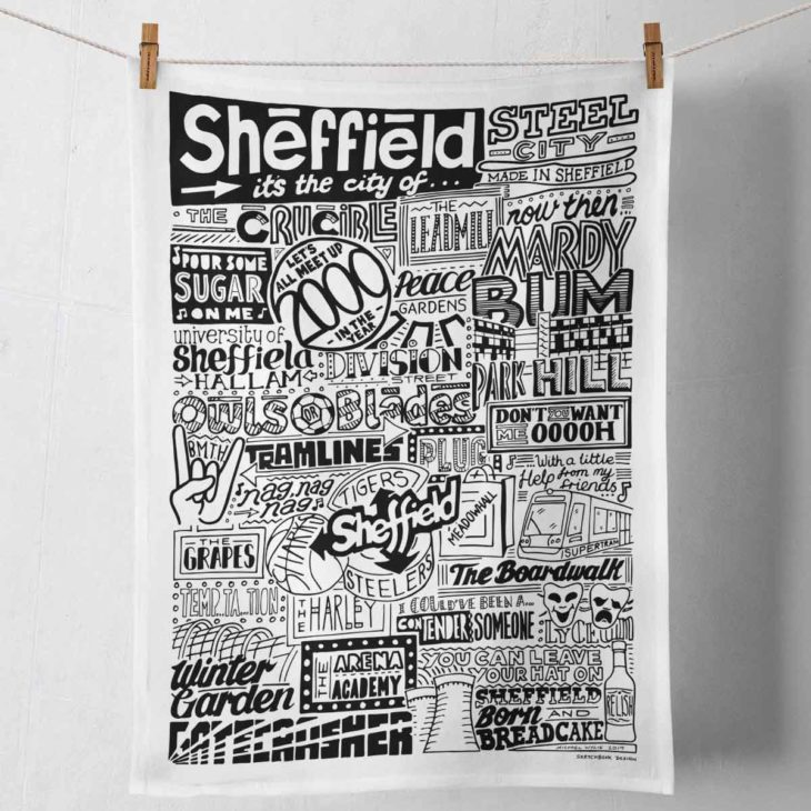 Sheffield Tea Towel featuring ur hand-drawn Sheffield illustration
