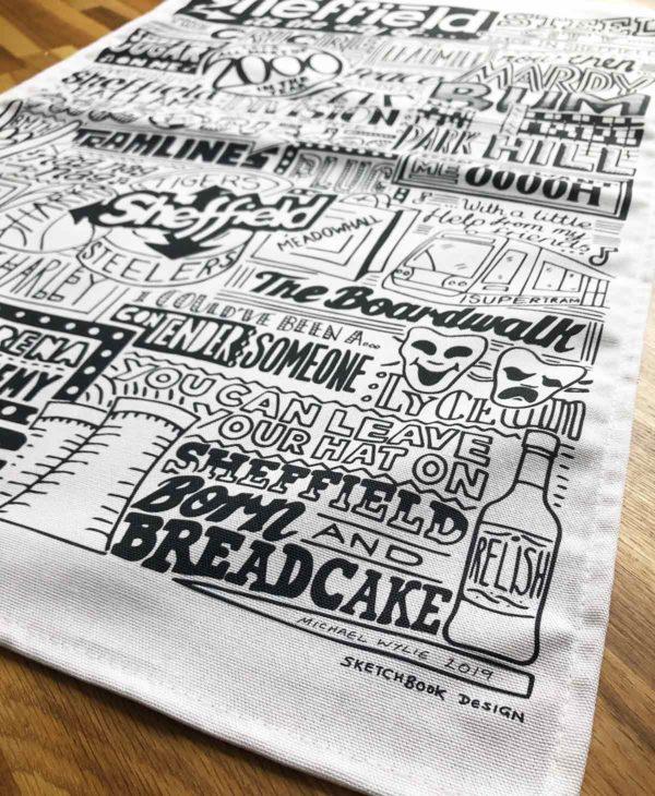 Sheffield Tea Towel featuring ur hand-drawn Sheffield illustration