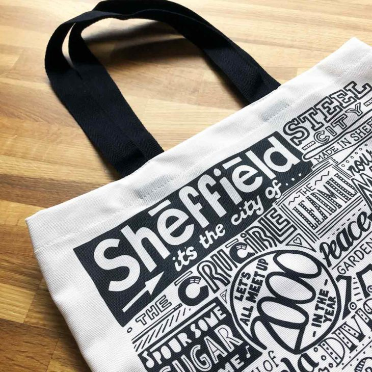 Sheffield Tote Bag from Sketchbook Design featuring our hand-drawn Sheffield illustration