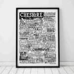 Cheshire Print by Sketchbook Design Hand drawn Cheshire Poster featuring iconic landmarks. Print available framed or unframed