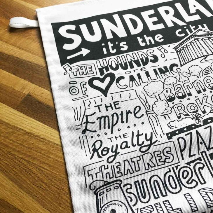 Sunderland Tea Towel featuring ur hand-drawn Sunderland illustration