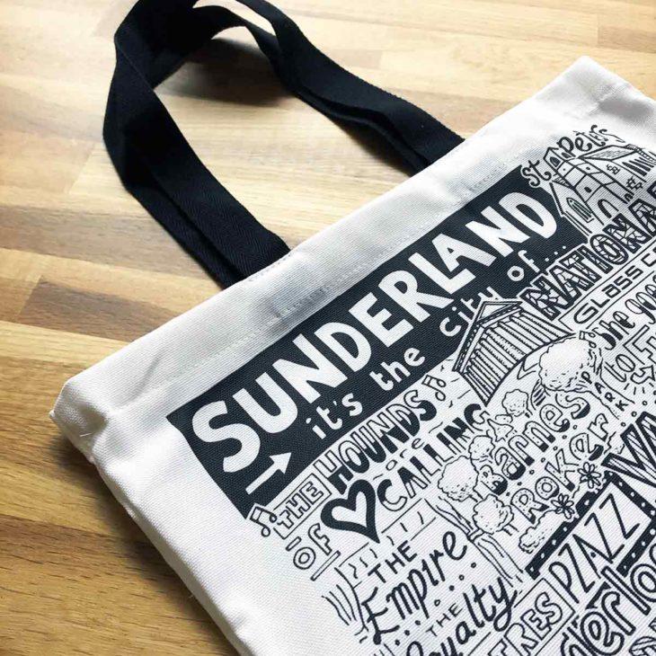 Sunderland Tote Bag from Sketchbook Design featuring our hand-drawn Sunderland illustration