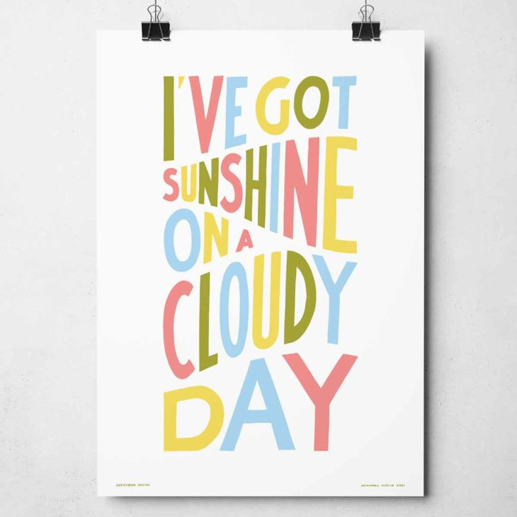 I've Got Sunshine Print | Music Prints and Song Lyric Prints From Sketchbook Design