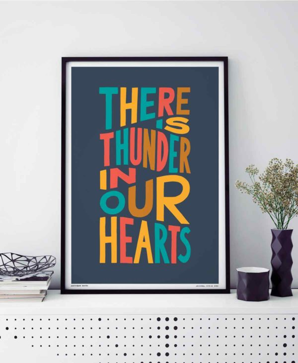 There is Thunder In Our Hearts Print | Music Prints and Song Lyric Prints From Sketchbook Design