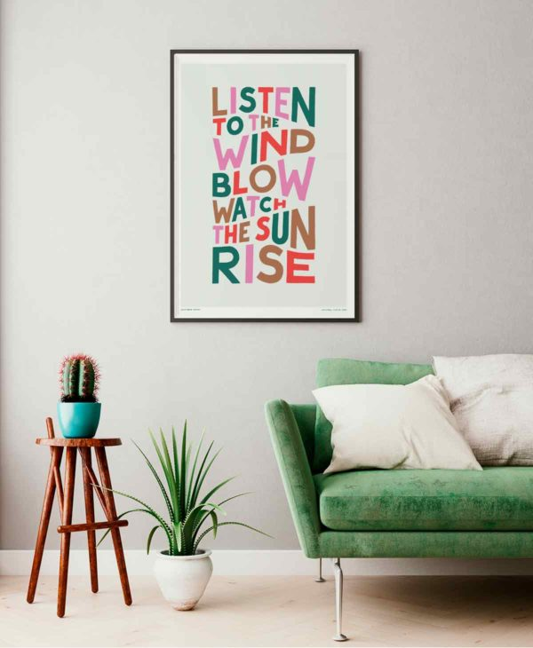 Listen To The Wind Blow Print | Music Prints and Song Lyric Prints From Sketchbook Design