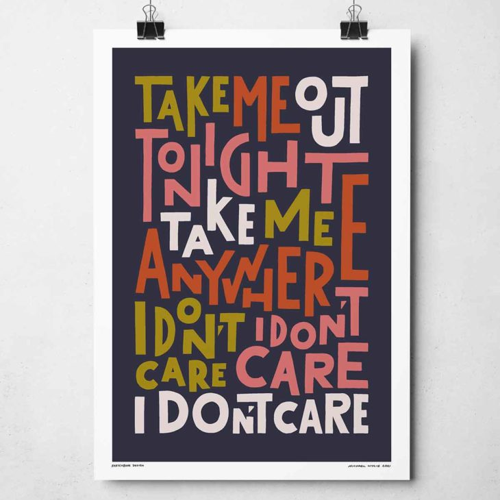 Take Me Out Tonight Print | Music Prints and Song Lyric Prints From Sketchbook Design