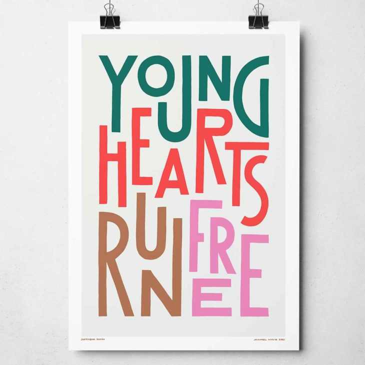 Young Hearts Run Free Print | Music Prints and Song Lyric Prints From Sketchbook Design