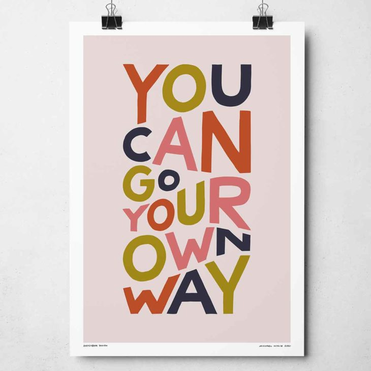 You Can Go Your Own Way Print | Music Prints and Song Lyric Prints From Sketchbook Design