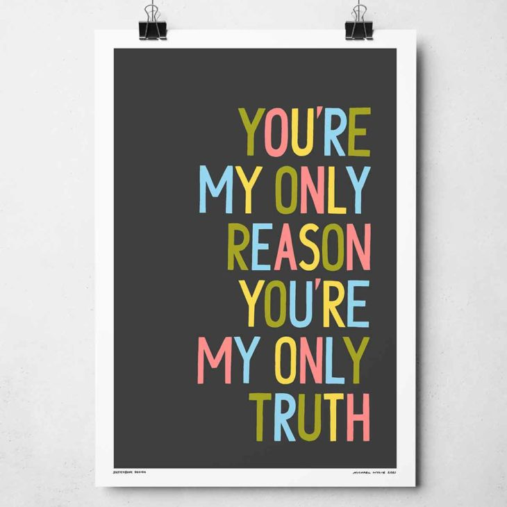 You're My Only Reason Print | Music Prints and Song Lyric Prints From Sketchbook Design