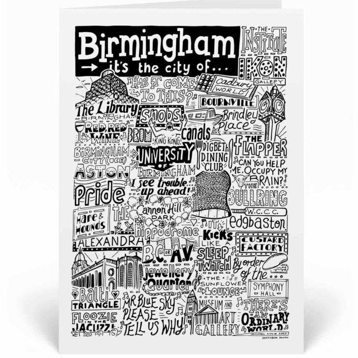 Birmingham Landmarks Greetings Card by Sketchbook Design. Personalised Birmingham Birthday Card featuring iconic locations and things that make the city famous