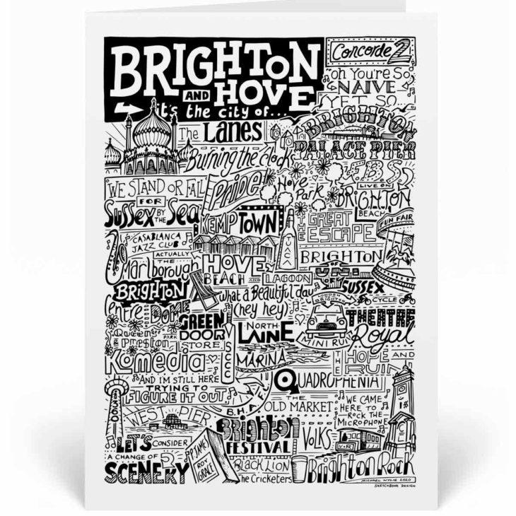 Brighton Landmarks Greetings Card by Sketchbook Design. Personalised Brighton Birthday Card featuring iconic locations and things that make the city famous