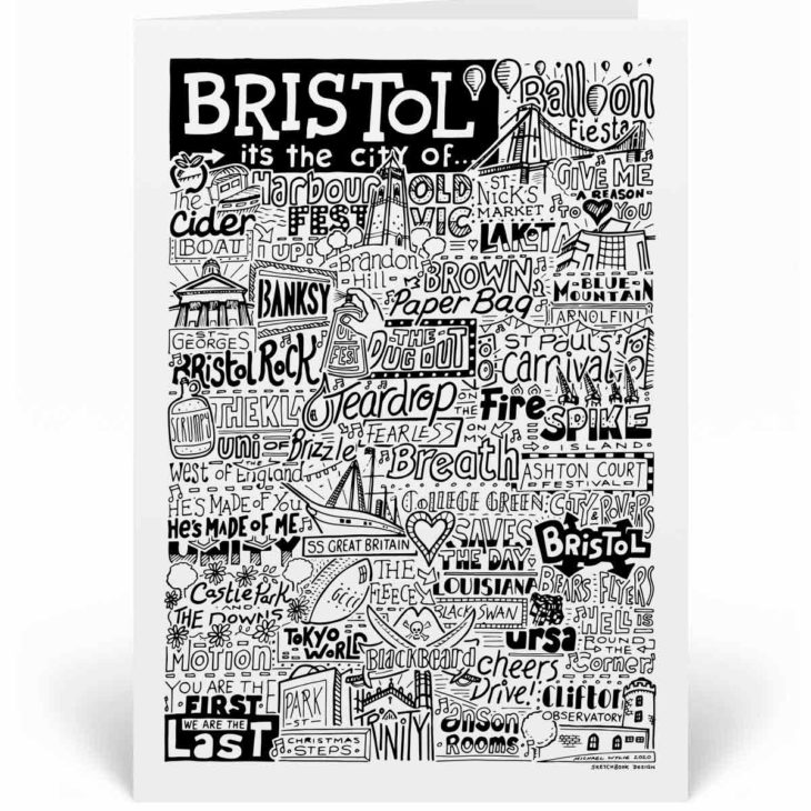 Bristol Landmarks Greetings Card by Sketchbook Design. Personalised Bristol Birthday Card featuring iconic locations and things that make the city famous