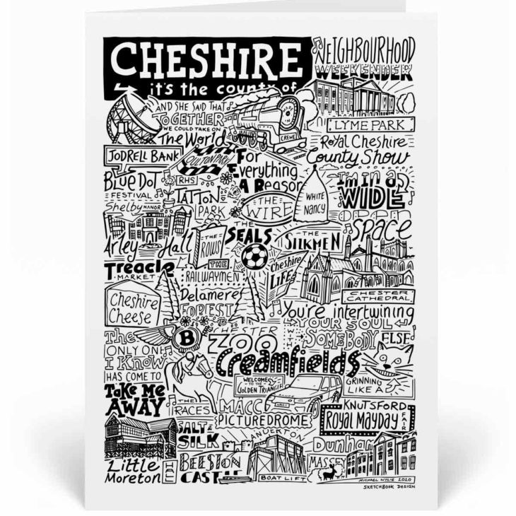 Cheshire Landmarks Greetings Card by Sketchbook Design. Personalised Cheshire Birthday Card featuring iconic locations and things that make the city famous