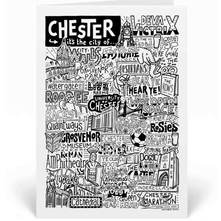 Chester Landmarks Greetings Card by Sketchbook Design. Personalised Chester Birthday Card featuring iconic locations and things that make the city famous