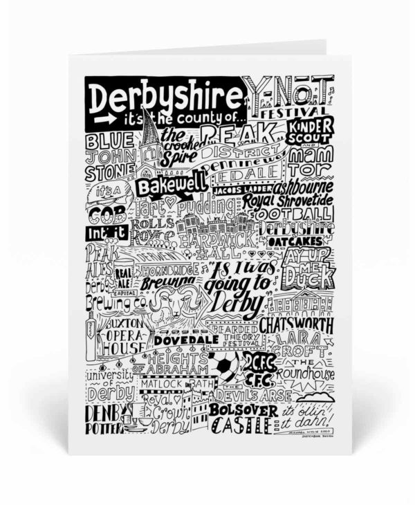 Derbyshire Landmarks Greetings Card by Sketchbook Design. Personalised Derbyshire Birthday Card featuring iconic locations and things that make the city famous
