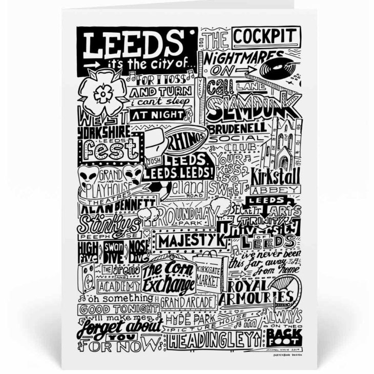 Leeds Landmarks Greetings Card by Sketchbook Design. Personalised Leeds Birthday Card featuring iconic locations and things that make the city famous