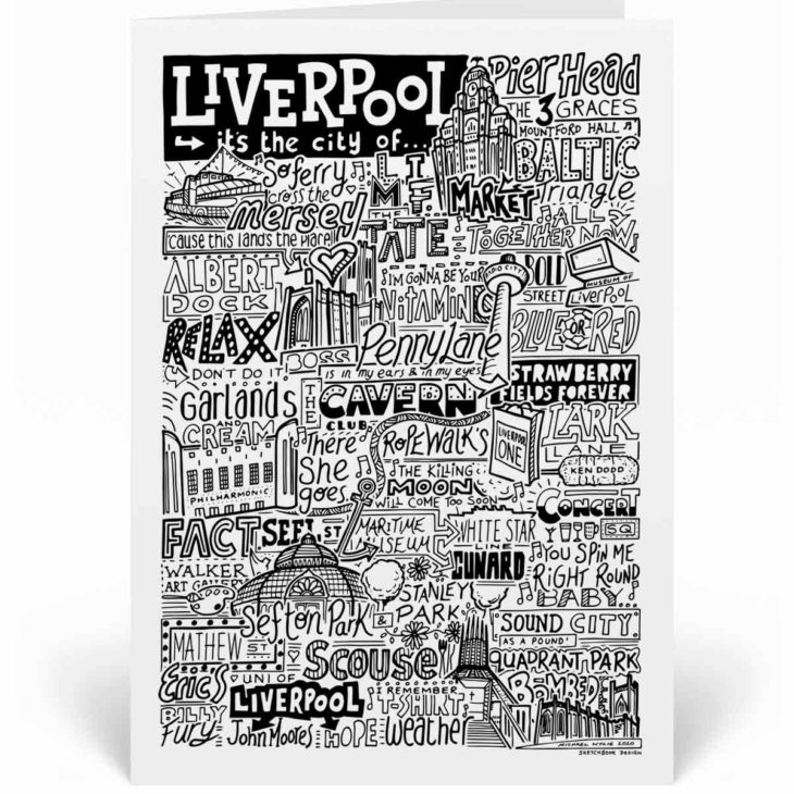 Liverpool Landmarks Greetings Card by Sketchbook Design. Personalised Liverpool Birthday Card featuring iconic locations and things that make the city famous