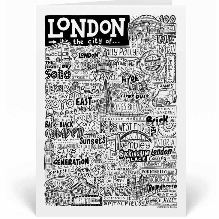 London Landmarks Greetings Card by Sketchbook Design. Personalised London Birthday Card featuring iconic locations and things that make the city famous