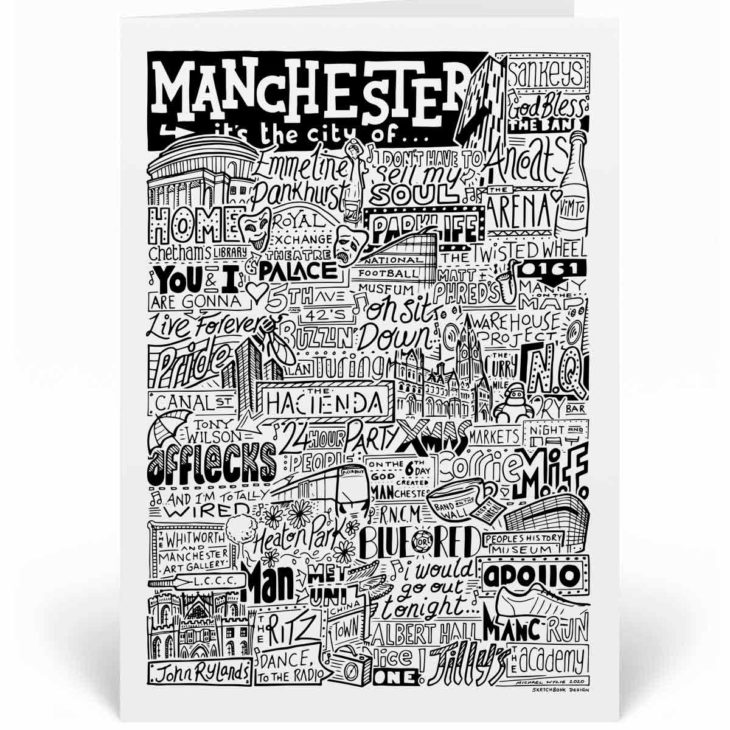 Manchester Landmarks Greetings Card by Sketchbook Design. Personalised Manchester Birthday Card featuring iconic locations and things that make the city famous