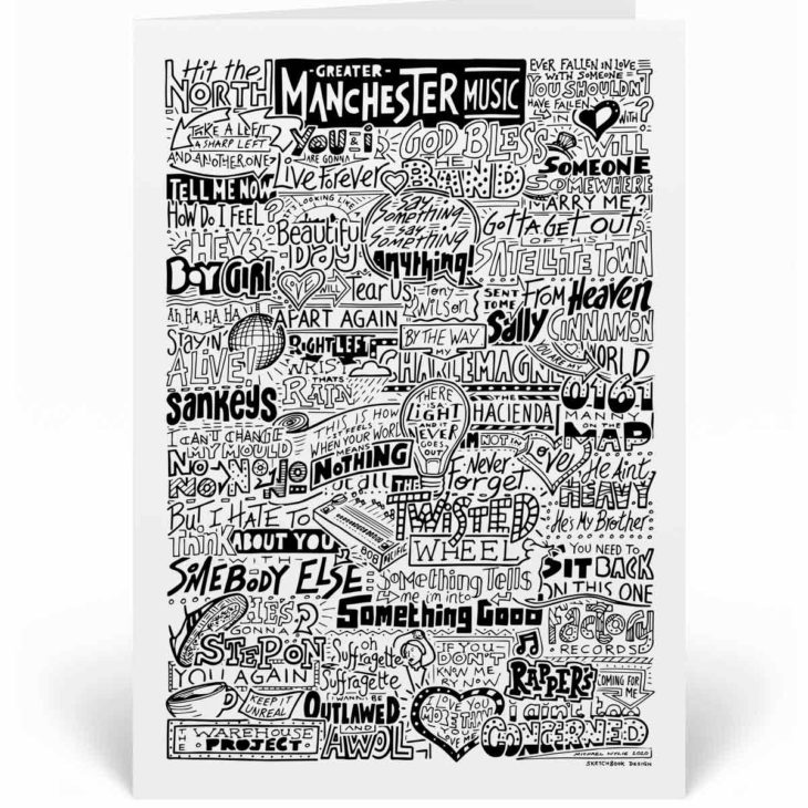 Greater Manchester Music greetings card featuring bands and musicians who come from the greater Manchester area
