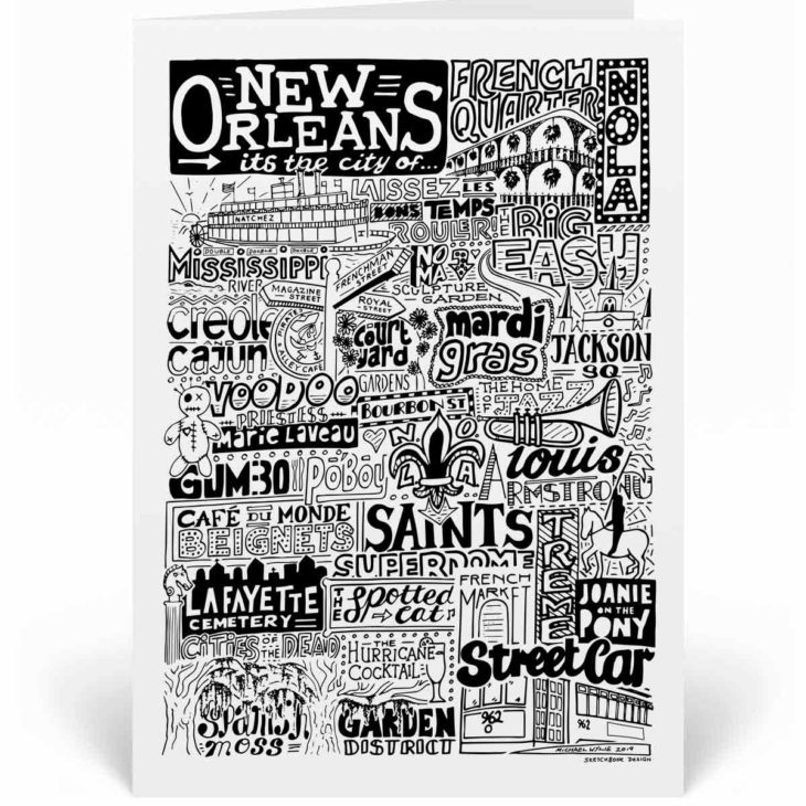 New Orleans Landmarks Greetings Card by Sketchbook Design. Personalised New Orleans Birthday Card featuring iconic locations and things that make the city famous