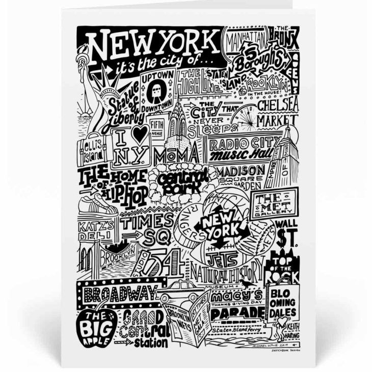 New York Landmarks Greetings Card by Sketchbook Design. Personalised New York Birthday Card featuring iconic locations and things that make the city famous