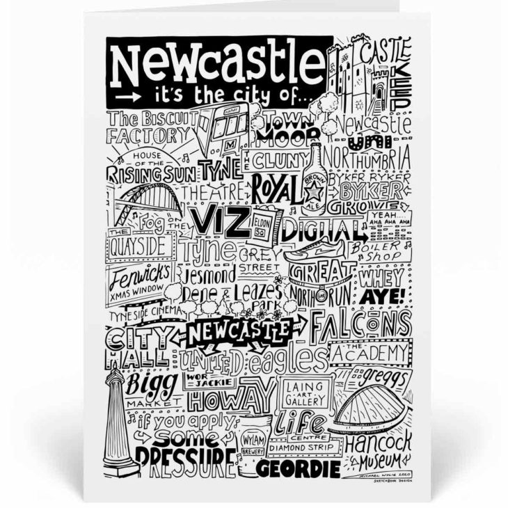 Newcastle Landmarks Greetings Card by Sketchbook Design. Personalised Newcastle Birthday Card featuring iconic locations and things that make the city famous