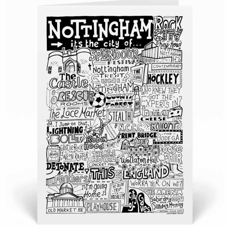 Nottingham Landmarks Greetings Card by Sketchbook Design. Personalised Nottingham Birthday Card featuring iconic locations and things that make the city famous