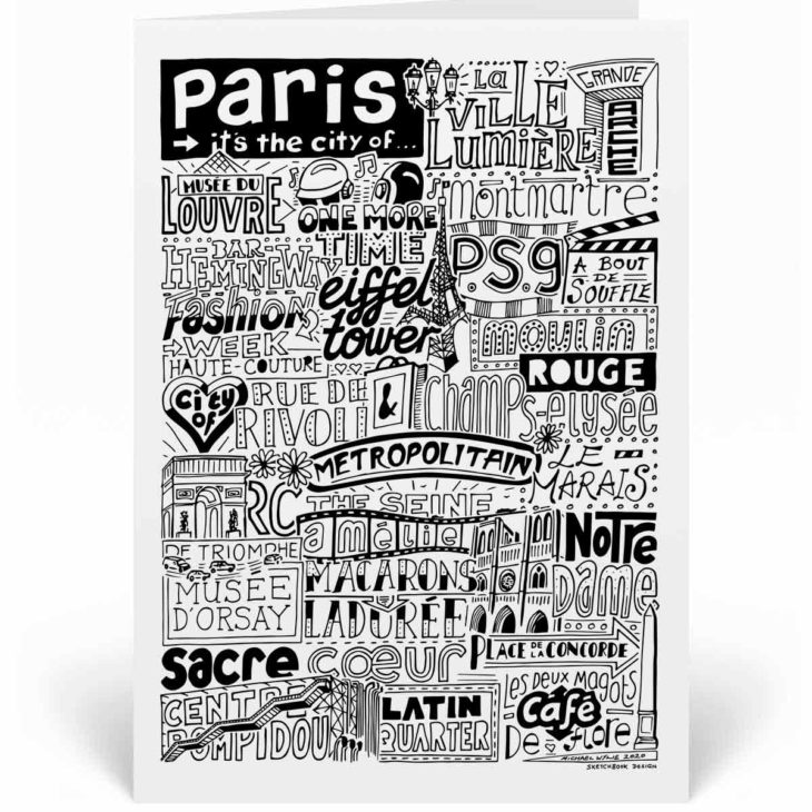Paris Landmarks Greetings Card by Sketchbook Design. Personalised Paris Birthday Card featuring iconic locations and things that make the city famous