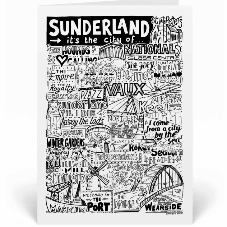 Sunderland Landmarks Greetings Card by Sketchbook Design. Personalised Sunderland Birthday Card featuring iconic locations and things that make the city famous