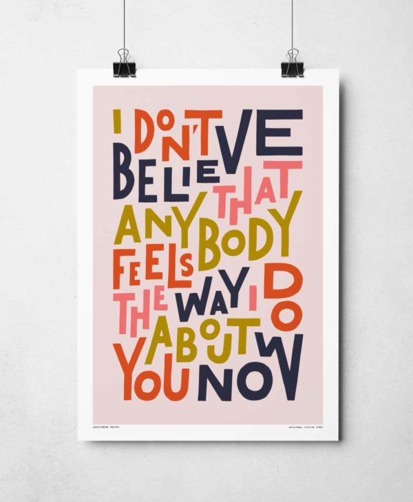Feels the Way I Do Print | Music Prints and Song Lyric Prints From Sketchbook Design