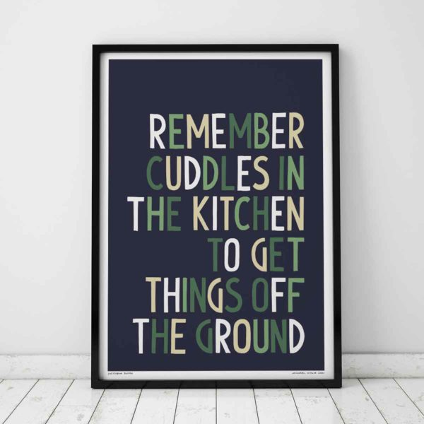 Cuddles in the Kitchen Print | Music Prints and Song Lyric Prints From Sketchbook Design