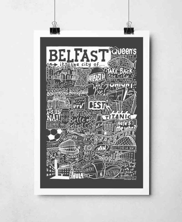 Belfast Print by Sketchbook Design Hand drawn Belfast Poster featuring iconic landmarks. Print available framed or unframed