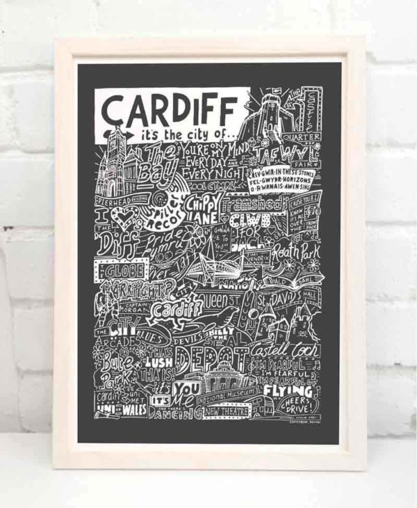 This Cardiff print featuring people, places and landmarks from the city. This hand drawn Cardiff poster is part of our cities and places print range.