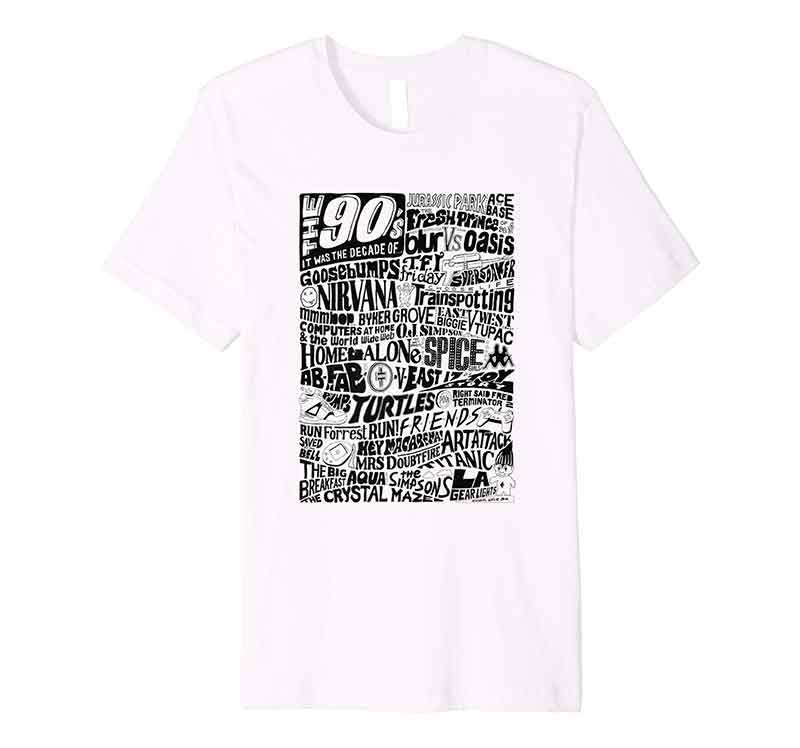 1990s Nineties Decade Typography Design T-shirt from Sketchbook Design