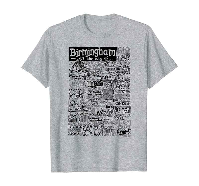 Birmingham Landmarks T-shirt by Sketchbook Design featuring typography and illustrations of the landmarks of Birmingham
