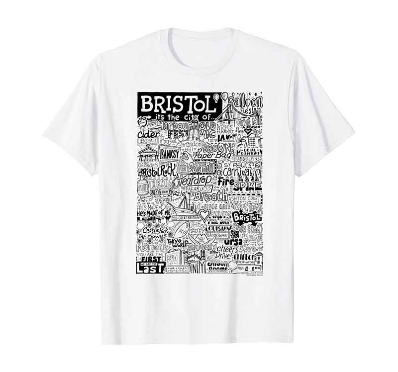 Bristol Landmarks T-shirt by Sketchbook Design featuring typography and illustrations of the landmarks of Bristol